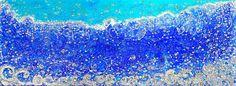 "MEDITERRANEAN VOICE 24"" x 65.35""  /  61 x 166 cm Acrylic, pastes, glitters, powders, shells, swarovski crystals on canvas"