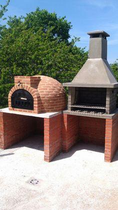 Montaje Horno de leña de Pereruela y barbacoa de granito Diy Pizza Oven, Pizza Oven Outdoor, Barbecue Design, Grill Design, Patio Kitchen, Outdoor Kitchen Design, Outdoor Kitchens, Parrilla Exterior, Brick Bbq