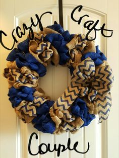 Burlap wreath with bow! Check out more of our creations on Facebook  Crazy Craft Couple