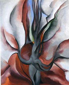 Autumn Trees - The Maple, 1924 by Georgia O'Keeffe. Precisionism. landscape