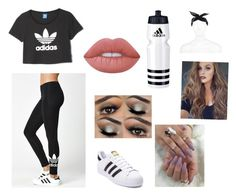 """Adidas Outfit"" by heyitzfran on Polyvore featuring adidas, Lime Crime and River Island"