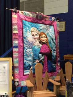 This Frozen quilt is going on the wall in the girls' room!