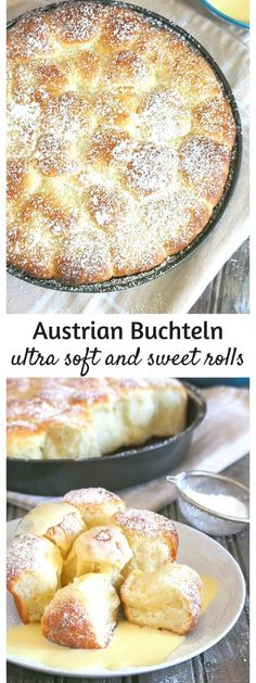 Buchteln are sweet, yeast rolls originated from Austria that are characterized by their light and airy texture. These buttery and sweet rolls are served with vanilla custard sauce but they are often filled with apricot jam in the center. Custard Sauce, Vanilla Custard, Austrian Recipes, Austrian Food, Bavarian Recipes, German Recipes, Yeast Rolls, Bread Rolls, Think Food