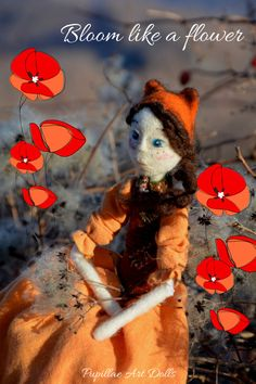 Fox Autumn art doll, needle felted woodland inspired ooak marionette with orange linen dress, collectible poseable whimsical figure with a basket full of wool balls.  -Inspiration- Autumn takes inspiration from the forests that surround me, the long walks in the woods the sound of trampled leaves, shadows and lights...   -Realization- Autumn is a a needle felted art doll, I made him with needle felting technique, she is posable because she has joints in the major joint points of the body…