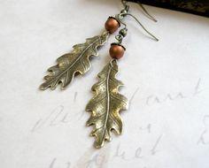 Oak leaf earringsacorns antiqued brass woodland by botanicalbird