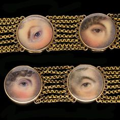 View this item and discover similar for sale at - A rare and exceptional pair of bracelets each with six round glass fronted, hinged locket compartments enclosing a miniature painting of an eye, linked Lovers Eyes, Hair Locks, Bangles, Bracelets, Contemporary Jewellery, Georgian, Pearl Earrings, Miniatures, Pairs