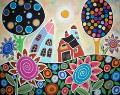 Summer Folk Art Flower Farm Karla Gerard Canvas Giclee Print via Etsy Karla Gerard, Art Populaire, Collage Techniques, Flower Farm, Naive Art, Whimsical Art, Elementary Art, Doodle Art, Painted Rocks
