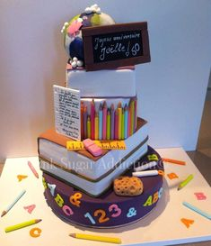 "School cake by ""pink sugar addiction"" blog or facebook"
