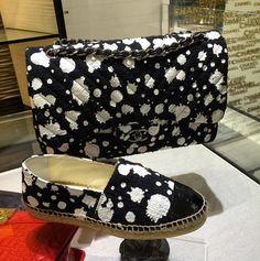 Chanel Black/White Paint Splatter Flap Bag and Espadrilles