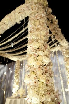glamorous floral wedding chuppah