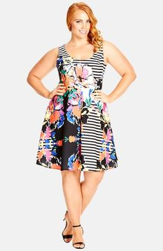 City+Chic+'Miss+Mod'+Print+Fit+&+Flare+Dress+(Plus+Size)+available+at+#Nordstrom