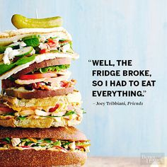 Your favorite TV characters have some pretty funny things to say about food. Check out these awesome quotes from Joey Tribbiani, Ron Swanson and Liz Lemon.