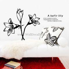 A Kafir Lily Flowers Wall Decals Plum Flowers, Flower Wall Decals, Beautiful Flowers, Lily, Symbols, Throw Pillows, Home Decor, Toss Pillows, Decoration Home