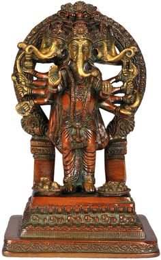 Five headed ten armed standing Ganesha Sri Ganesh, Lord Ganesha, Indian Temple Architecture, Ganesh Statue, Hare Krishna, Ancient Art, Indian Art, Shiva, Temples