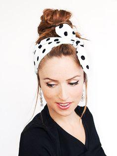 White Polka Dots Headband Black Dolly Bow by MinitaStudio on Etsy