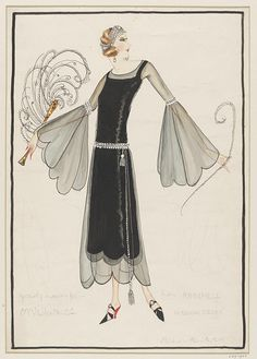 Norman Hartnell (c.1923) cocktail dress design. Chiffon with boat neck and fanned sleeves with scalloped edging. Beaded belt with tassels, and beaded band on elbows.