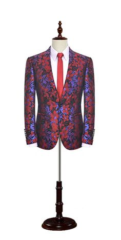 Red and purple black flowers customized suit