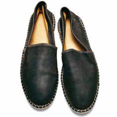 Upscale Black Leather Espadrilles, via Details.com, Men's Spring Summer Fashion.