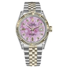 Pre-owned Rolex Datejust Stainless Steel/ 18K Gold Pink Flower MOP... ($5,499) ❤ liked on Polyvore featuring jewelry, watches, pre owned watches, flower watches, rolex watches, i love jewelry and gold watches