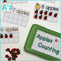 These adorable math activities are great for busy boxes, quiet time bins, centers, table activities, or morning tubs in any preschool or kindergarten class! They are all apple themed, and they are ready to print & easy to use! #preschool #kindergarten #mathideas #busyboxes #quiettimebins #applestheme Kindergarten Themes, Preschool Themes, Preschool Math, Maths, Counting For Kids, Math For Kids, Apple Activities, Math Activities, Apple Unit