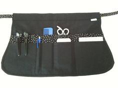 Black Stylist Apron Black Polka Dot Pockets Sexy by mizzeztee
