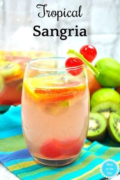 Delicious Cocktail Recipe: Tropical Sangria with White Wine #sangria #whitewine #wine #cocktails #cocktailrecipe #recipe #recipes #drinks #drinking #winewednesday #yummy #pineapple