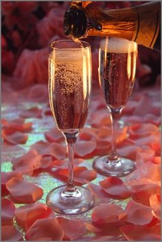 Rose champagne and rose petals