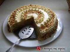 Εντυπωσιακή τούρτα!!! Αποτελεί ιδανική λύση όταν θέλουμε κάτι γρήγορο και νόστιμο σε μορφή τούρτας! Lemon Recipes, Sweets Recipes, Greek Recipes, Cooking Recipes, Greek Sweets, Greek Desserts, Cheesecake Tarts, Greek Cooking, Le Chef
