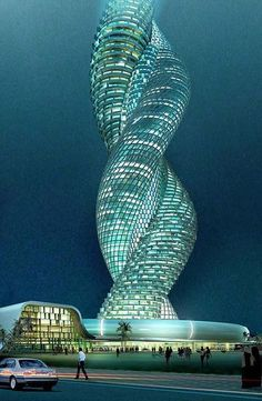 Cobra Tower Kuwait - Whether this building ever actually sees the light of day is irrelevant. This design for a spiraling interwined building in Kuwait is clever, creative and devastatingly original. Unusual Buildings, Interesting Buildings, Amazing Buildings, Modern Buildings, Architecture Unique, Futuristic Architecture, School Architecture, Building Architecture, Installation Architecture