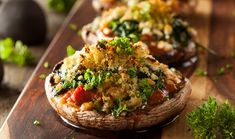 Cheesy Stuffed Portobello Mushrooms recipe, superfoods like fire-roasted tomatoes and spinach are loaded into mushroom caps. Stuffed Portabello Mushrooms, Stuffed Mushroom Caps, Clean Eating, Healthy Eating, Healthy Food, Vegetarian Recipes, Cooking Recipes, Healthy Recipes, Portobello Rellenos