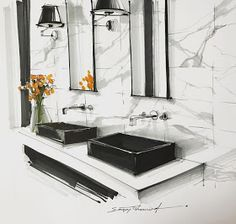 Best bathroom interior design sketch ideasYou can find Interior sketch and more on our website. Interior Architecture Drawing, Interior Design Renderings, Drawing Interior, Interior Rendering, Interior Sketch, Architecture Portfolio, Modern Architecture, Bathroom Interior Design, Modern Interior