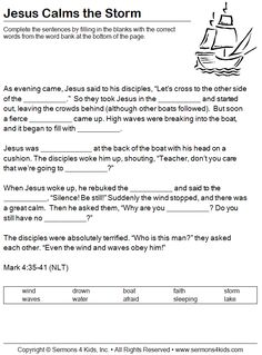 Jesus calms the storm , Mark 4, worksheet (for older kids)