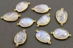 Natural Rainbow Moonstone Faceted Oval Connector, Gold Vermeil, , Incredible Blue Fire,25x17mm,1 Piece, (RNM/25x17) by Beadspoint on Etsy