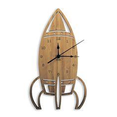 Reloj de pared de madera del cohete | Corte del Laser de espacio Nursery & decoración niños