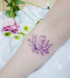 Watercolor lotus flower tattoo by Banul