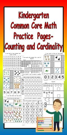 Are you looking for materials to allow students to PRACTICE the new Common Core standards in math? I know that our district's adopted textbook series does not cover all of the new Common Core standards, so I have been looking for resources to teach them!!   This packet has 26 printable pages to allow students to practice the standards in the COUNTING and CARDINALITY domain of the Kindergarten Common Core Standards in Math.  $
