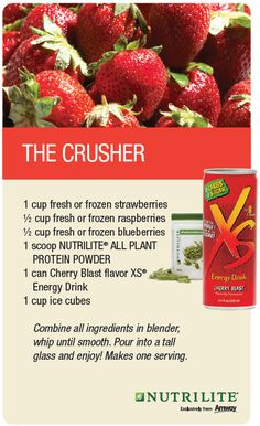 Nutrilite, Energy Smoothies, Energy Drinks, Canned Cherries, Meal Replacement Shakes, Plant Protein, Frozen Blueberries, Natural Energy, All Plants
