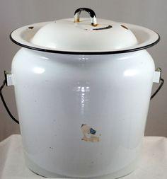 Vintage White Enamel Pot Milk Pail Diaper Bucket With Lid