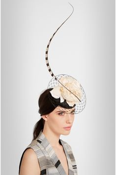 Philip Treacy | Feather-embellished veiled parisisal headpiece | NET-A-PORTER.COM