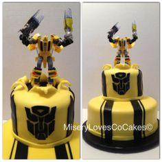 the bumble bee transformer cake! (action figure not edible)  all edible www.miserylovesco.biz www.facebook.com/mlc510