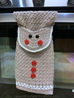 Free Crochet Pattern - Gingerbread Man Kitchen Towel by A Crocheted Simplicity kostenlos häkeln Gingerbread Man Kitchen Towel - Free Crochet Towel Pattern - A Crocheted Simplicity Crochet Dish Towels, Crochet Towel Topper, Crochet Kitchen Towels, Crochet Dishcloths, Crochet Gifts, Free Crochet, Holiday Crochet Patterns, Crochet Christmas, Plaid Christmas