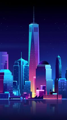 My Favorite Wallpaper: Skyline Neon Wallpaper, Iphone Wallpaper, Phone Backgrounds, Wallpaper Backgrounds, Photographie Street Art, Graffiti Kunst, 8bit Art, Vaporwave Art, Neon Aesthetic