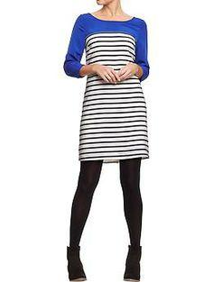 Womens Color-Block Striped Shift Dresses
