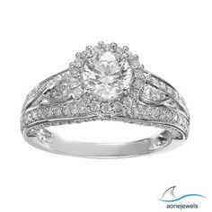 1-7/9 CT 4-Prong Seting Hallo Style Round Cut Diamond Wedding & Engagement Ring  #aonejewels
