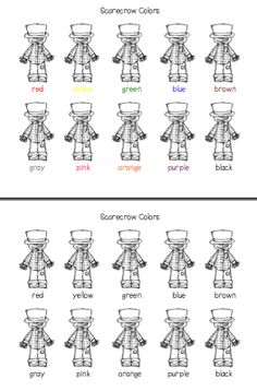 Scarecrow Colors Worksheet (free; from Preschool Wonders)