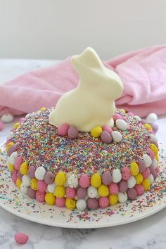 15 minutes is all it takes to whip up this show stopping Easy White Chocolate Easter Cake. It looks AMAZING but is the simplest recipe ever! A store-bought white chocolate mud cake covered in white chocolate frosting, heaped with pretty sprinkles! Mini Desserts, Easy Desserts, Delicious Desserts, Baking Desserts, Chocolate Easter Cake, White Chocolate, Chocolate Bunny, Chocolate Frosting, Easter Cake Easy
