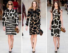 Selva fashion: a girafa, a vaca e a zebra vão invadir o seu closet. Buberry, inverno 2014.