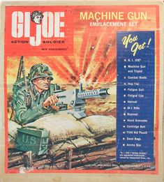 The Machine Gun Emplacement Set was a 1965 Sears exclusive, one of many that would. 1960s Toys, Retro Toys, Vintage Toys, Gi Joe, Cobra Commander, Storm Shadow, Happy 50th Birthday, Childhood Toys, Toy Soldiers