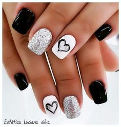 The Stunning Summer Nail Art Designs For Short Nails – Nail Art Connect Loading. The Stunning Summer Nail Art Designs For Short Nails – Nail Art Connect Cute Acrylic Nails, Acrylic Nail Designs, Short Nail Designs, Black And White Nail Designs, Black White Nails, Nail Designs With Hearts, White Nails With Design, Cute Easy Nail Designs, Black Toe Nails