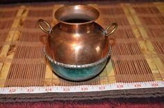 "Vintage Hammered Copper Urn Vase with Brass Handles 4""x4 1/2"""